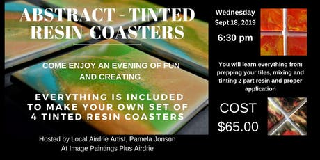 Abstract Tinted Resin Coasters Workshop tickets
