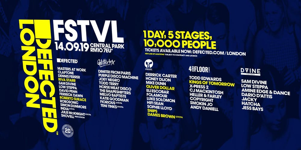 Defected London FSTVL 2019 Tickets, Sat 14 Sep 2019 at 11:00