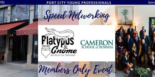 PCYP Members Only Speed Networking Hosted by Platypus & Gnome and Sponsored by UNCW Cameron School of Business Graduate Programs