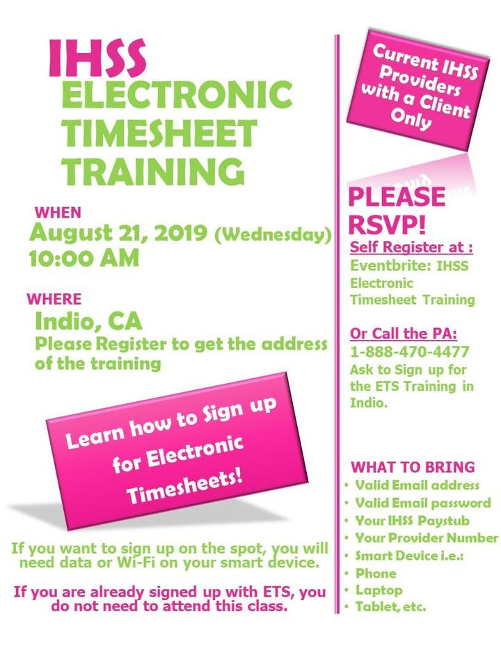 INDIO! Electronic Timesheet Training for IHSS Providers Tickets, Wed