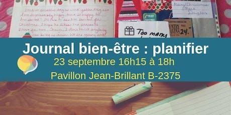 Journal bien-être : planifier sa session et s'organiser  billets
