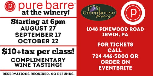 Pure Barre at Greenhouse Winery August 27th Class