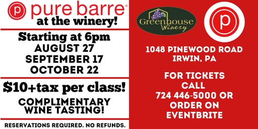Pure Barre at Greenhouse Winery September 17th Class