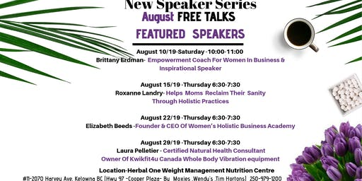August Speakers Series FREE Talks