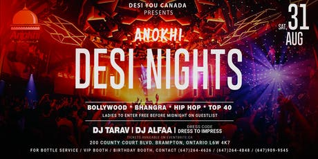 Anokhi DESI NIGHTS - The Upscale Bollywood Affair in B-Town tickets
