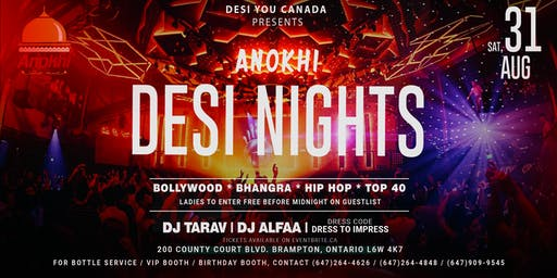 Anokhi DESI NIGHTS - The Upscale Bollywood Affair in B-Town