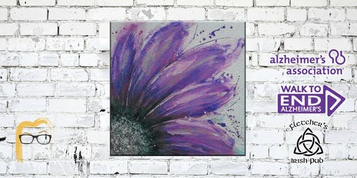Paint to End Alzheimer's - Purple Abstract Flower Painting