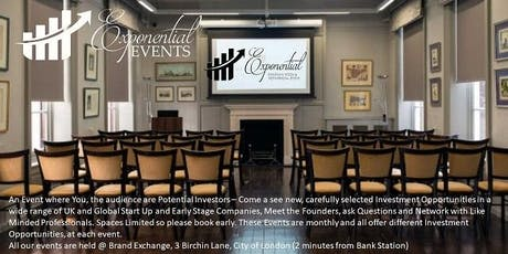 Exponential Events Investment Pitch & Networking September Event tickets