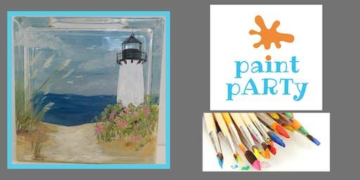 Paint'N'Sip Glass Block - Lighthouse - $35pp