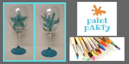 All Ages Paint Party on Glasses- Starfish & Coral- $35pp