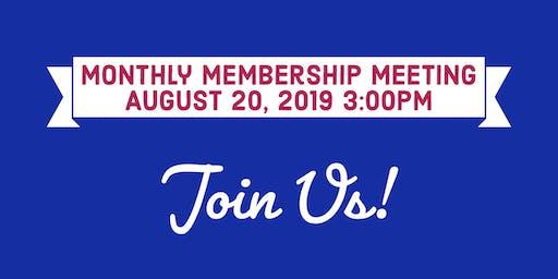 August Monthly Membership Meeting