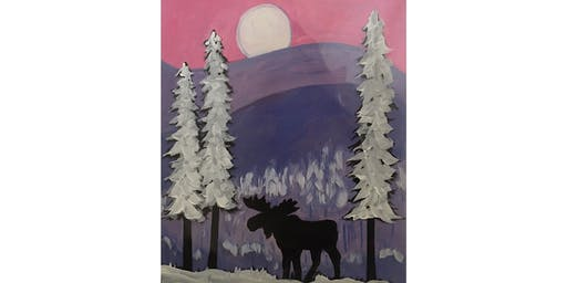 PNW Winter Moose Paint & Sip Night - Wine, Beer Included