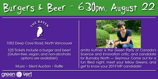 Green Party Fundraiser - Burgers and Beers at The Raven