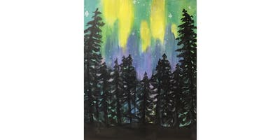 Northern Lights Forest Paint & Sip Night - Snacks Included