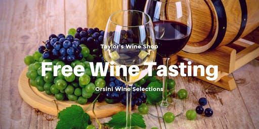 Free Wine Tasting - Orsini Wine Selections