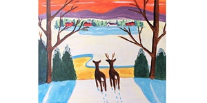Winter Deer by Maud Lewis Paint & Sip Night - Wine,...