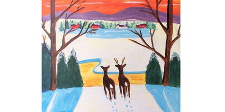 Winter Deer by Maud Lewis Paint & Sip Night - Wine, Beer Included tickets