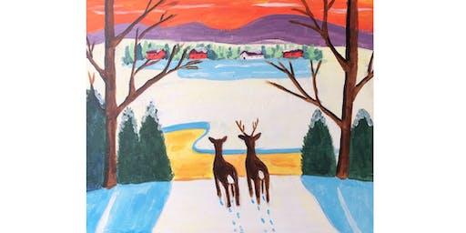 Winter Deer by Maud Lewis Paint & Sip Night - Wine, Beer Included
