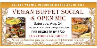 Vegan Buffet Social & Open Mic • AUG. 24 • Pre-Register by 8/20