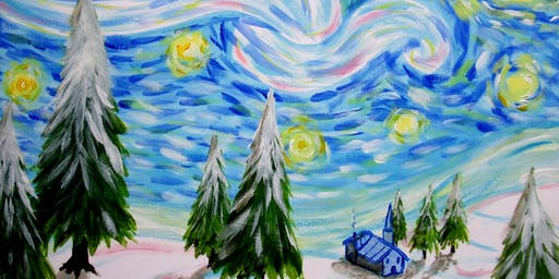 CANCELLED! Paint Snowy Starry Night! + Wine!