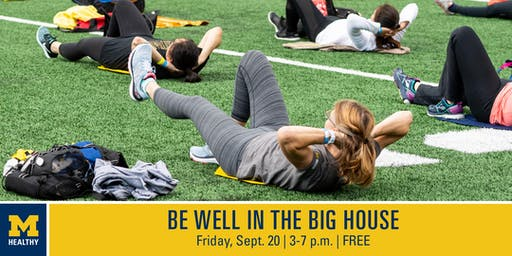 "MHealthy's ""Be Well in the Big House""  3 p.m. Football Skills and Drills Class"
