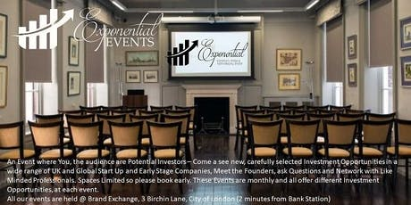 Exponential Events Investment Pitch & Networking March Event tickets