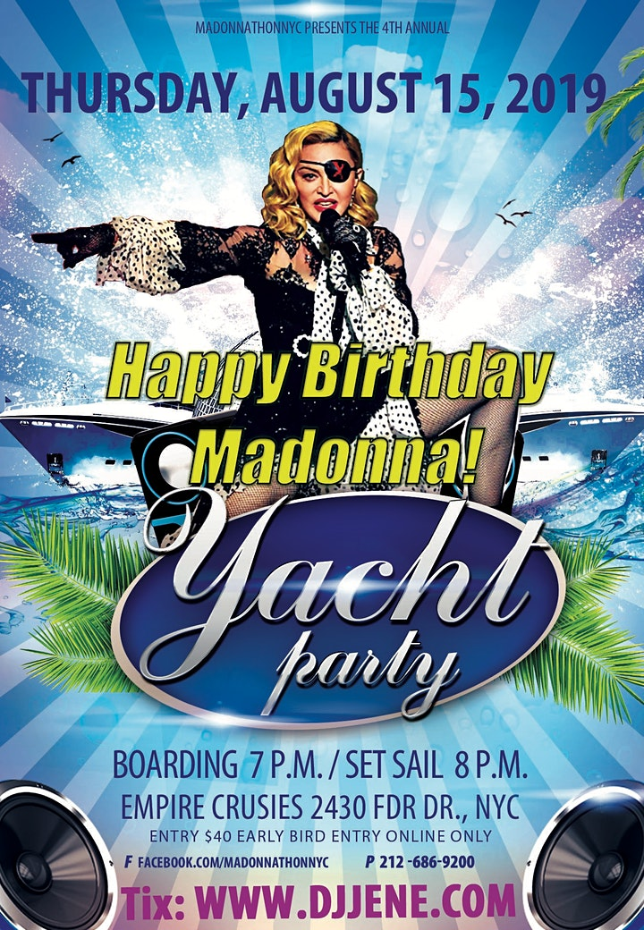 Happy Birthday Madonna! Boat Party Cruise 8/15/2019 image