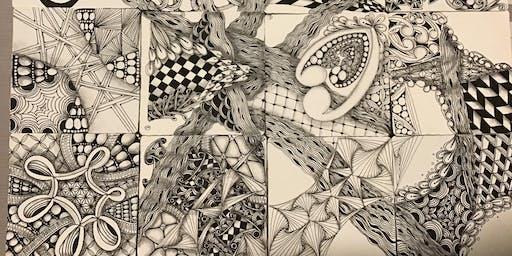 Meditative Zentangle drawing