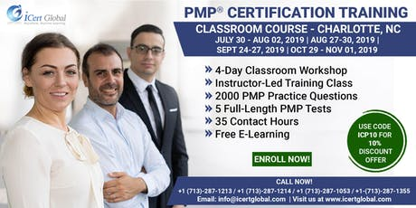 PMP® Certification Training Course in Charlotte, NC, USA | 4-Day PMP Boot Camp with PMI Membership Included. tickets