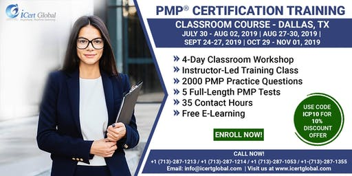 PMP® Certification Training Course in Dallas, TX, USA | 4-Day PMP Boot Camp with PMI Membership Included.