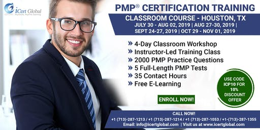 PMP® Certification Training Course in Houston, TX, USA | 4-Day PMP Boot Camp with PMI Membership Included.