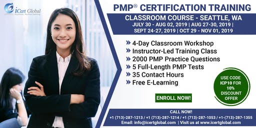 PMP® Certification Training Course in Seattle, WA, USA | 4-Day PMP Boot Camp with PMI Membership Included.