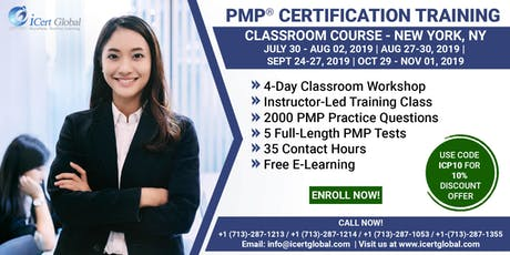 PMP® Certification Training Course in New York, NY, USA | 4-Day PMP Boot Camp with PMI Membership Included. tickets