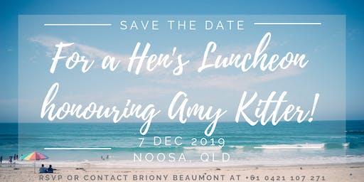 Hen's Luncheon honouring Amy Kitter