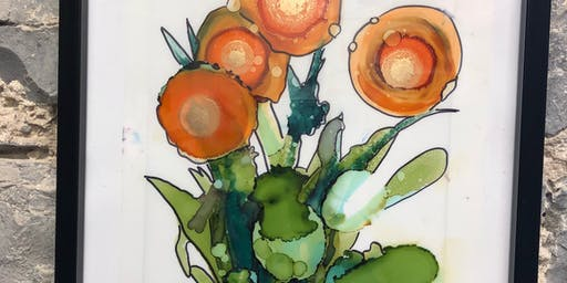 Alcohol Ink Floral Workshop at the Farm