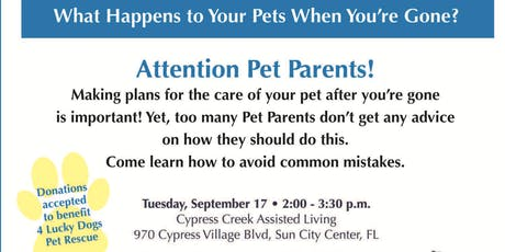 What Happens to Your Pets When You're Gone? tickets