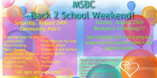 Maple Springs Annual Back 2 School Weekend