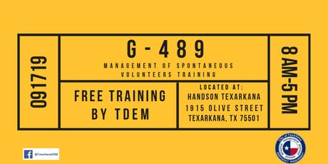G-489 Management of Spontaneous Volunteers tickets