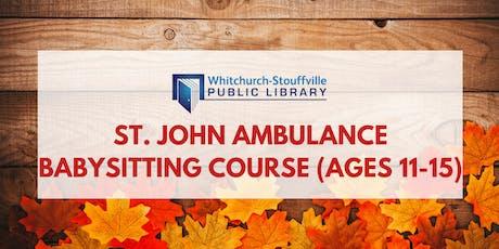 St. John Ambulance Babysitting Course (ages 11-15) tickets