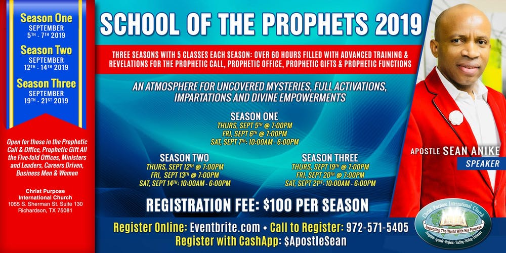 SCHOOL OF THE PROPHETS 2019 Tickets, Thu, Sep 5, 2019 at 7