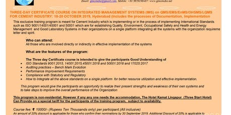 3 Day Internal Auditor Course on Integrated Management Systems tickets