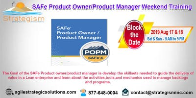 SAFe® Product Owner/Product Manager weekend Training in Fremont-Aug 17,18-2019