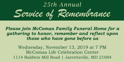 McComas Family Funeral Home 25th Annual Service of Remembrance