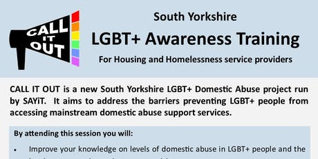 Call It Out: South Yorkshire LGBT+ Awareness Training for Housing and Homelessness Service Providers tickets