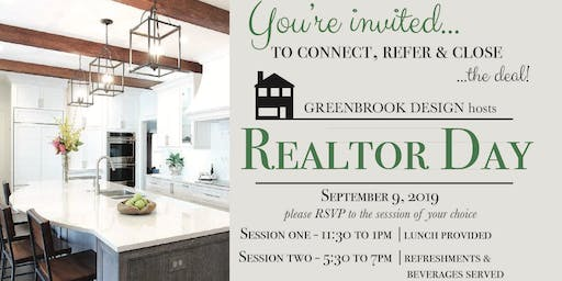 Realtor Day at Greenbrook Design - SESSION 1 (Lunch) 11:30 - 1:00 pm