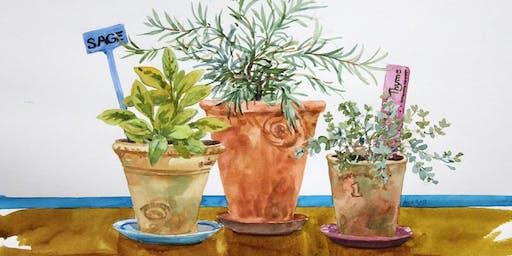 Watercolor Workshop: Windowsill Herb Garden