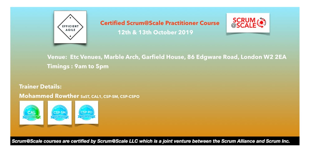 Certified Scrum@Scale Practitioner Course