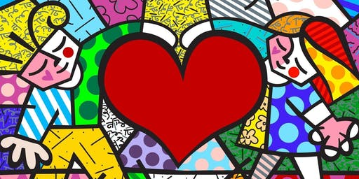 Create your own art work in the style of Brazilian artist Romero Britto