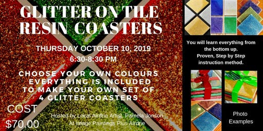 Glitter on Tile Resin Coasters Workshop
