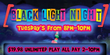 WickedBall Tuesday's $19.98 All-Day Unlimited Play! + Black Light Night tickets